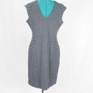 Ellen Tracy V-Neck Striped Black Grey Dress